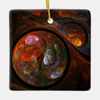 Fluid Connection Abstract Art Square Ornament