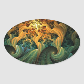 FLUID MOTION ABSTRACT OVAL STICKER
