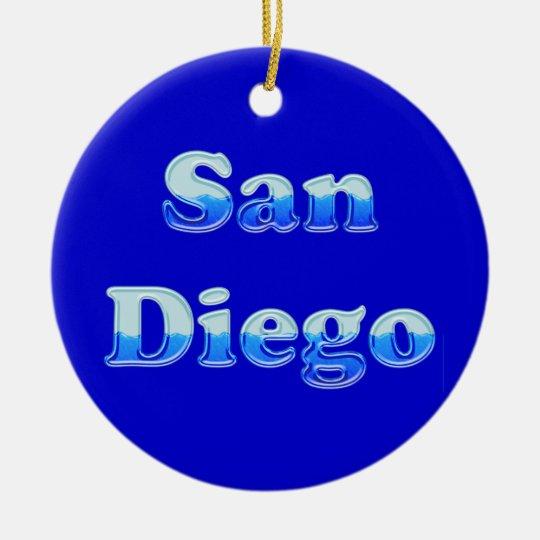 Fluid San Diego - On Blue Ceramic Ornament