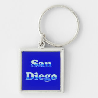 Fluid San Diego - On Blue Silver-Colored Square Keychain