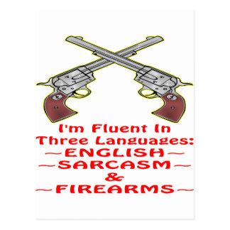Fluido en 3 armas de fuego inglesas del sarcasmo d postales