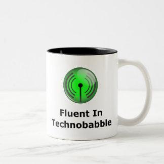 Fluido en Technobabble Taza De Dos Tonos