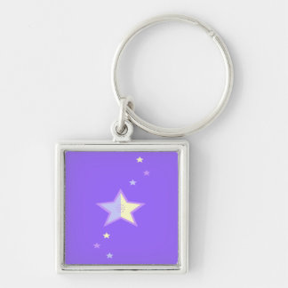 Fluir la estrella llavero cuadrado plateado