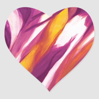Flujo abstracto - amarillo púrpura calcomania corazon