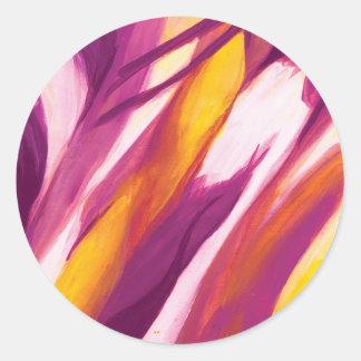 Flujo abstracto - amarillo púrpura etiquetas redondas