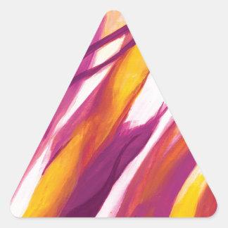 Flujo abstracto - amarillo púrpura colcomanias triangulo