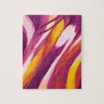 Flujo abstracto - amarillo púrpura puzzles con fotos