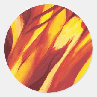 Flujo abstracto - amarillo rojo etiqueta redonda