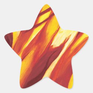 Flujo abstracto - amarillo rojo calcomanías forma de estrella personalizadas