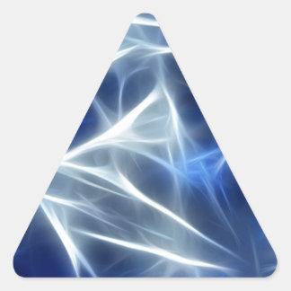Flujo abstracto de rayas blancas y azules pegatinas trianguloes