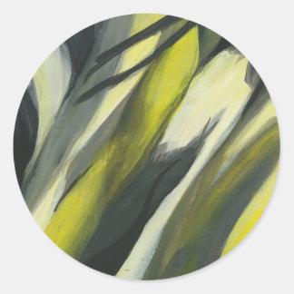 Flujo abstracto - gris amarillo pegatinas redondas
