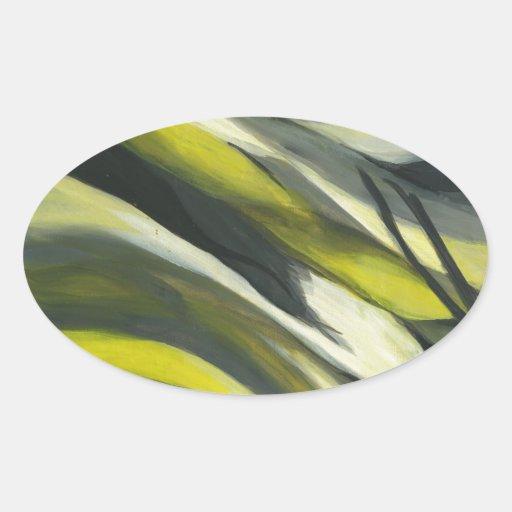 Flujo abstracto - gris amarillo colcomanias de óval personalizadas
