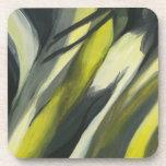 Flujo abstracto - gris amarillo posavaso