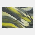 Flujo abstracto - gris amarillo toalla de mano