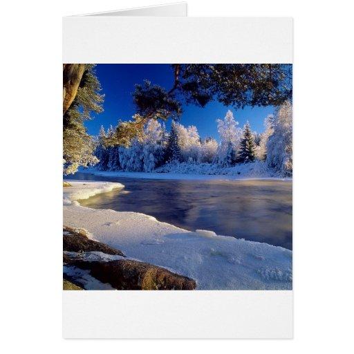 Flujo del hielo del río de la naturaleza tarjetas