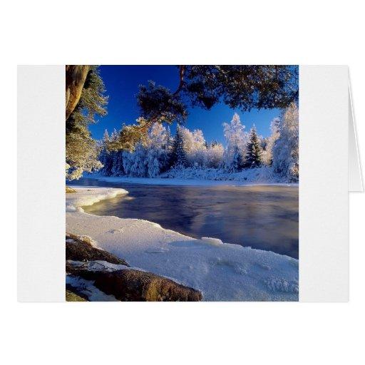 Flujo del hielo del río de la naturaleza felicitación