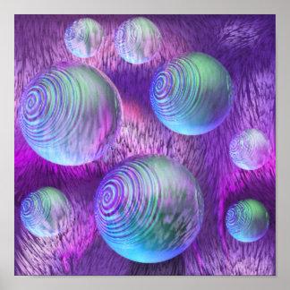 Flujo interno II - galaxia abstracta del añil y de Posters
