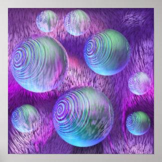 Flujo interno II - galaxia abstracta del añil y de Póster