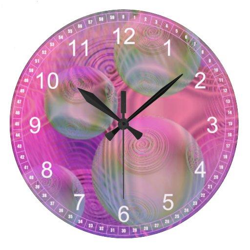 Flujo interno III - fucsia y reloj abstracto viole