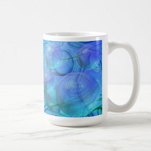 Flujo interno VI - aguamarina y galaxia azul Tazas De Café