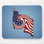 Flujo Mousepad del torbellino de la bandera americ Alfombrillas De Raton