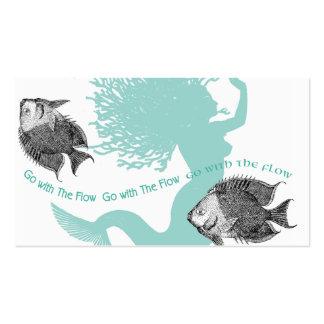 Flujo y pescados de la sirena plantilla de tarjeta personal
