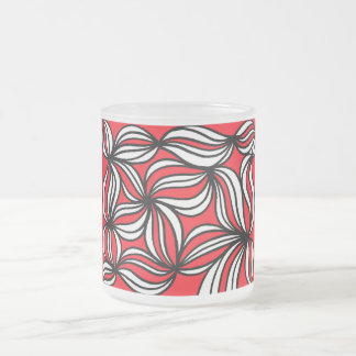 Fluker Abstract Expression Red White Black 10 Oz Frosted Glass Coffee Mug