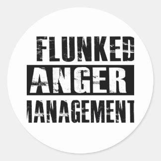 Flunked anger management classic round sticker