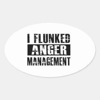Flunked anger management oval sticker