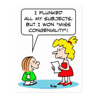 flunked school won miss congeniality postcard