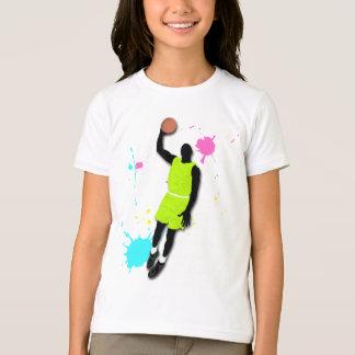 Fluo Basketball Player Girls Ringer T-Shirt