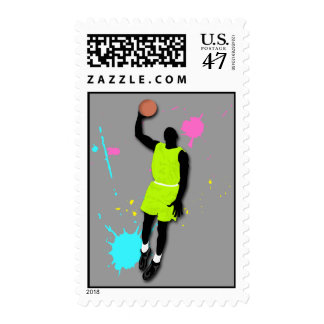 Fluo Basketball Player Postage Stamp