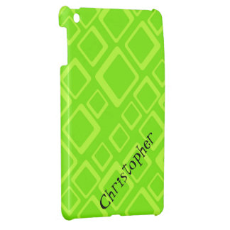Fluo Green Square on Green iPad Mini Case Template