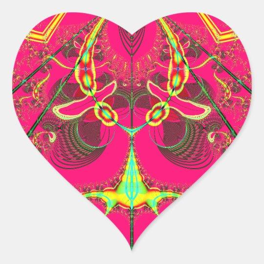 Fluorescent Alien Lady Bug Fractal Heart Sticker