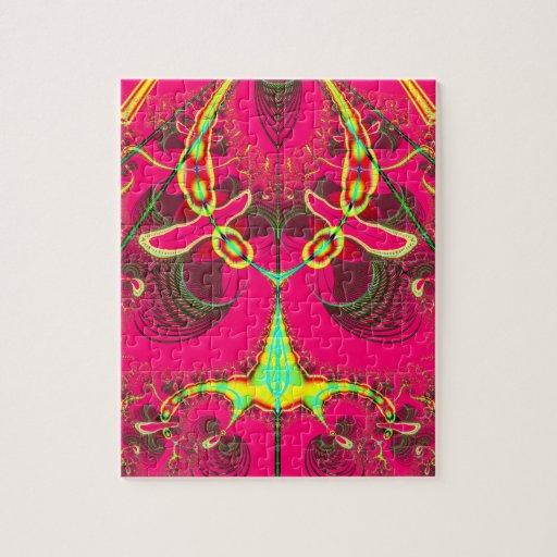 Fluorescent Alien Lady Bug Fractal Jigsaw Puzzle