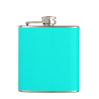 Fluorescent Aqua Teal Turquoise Blue Personalized Hip Flask
