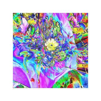 Fluorescent Blue, Lavender & Yellow Canvas