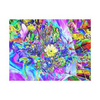 Fluorescent Blue, Lavender & Yellow Floral Canvas
