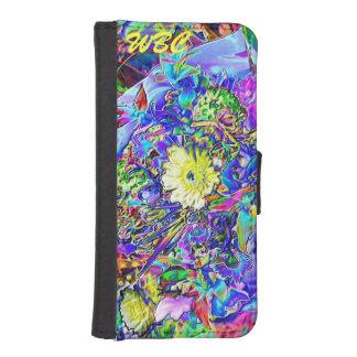 Fluorescent Blue, Lavender, Yellow Floral Monogram Wallet Phone Case For iPhone SE/5/5s