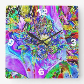 Fluorescent Blue, Lavender & Yellow Flowers Clock