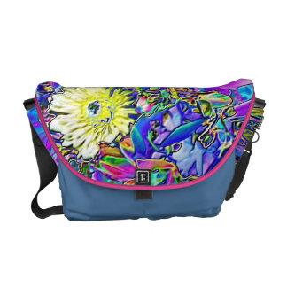 Fluorescent Blue, Lavender & Yellow Flowers Courier Bag
