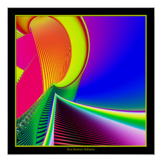 Fluorescent Boat and Giant Wave Fractal Poster