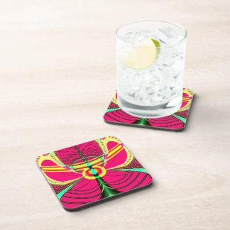Fluorescent Butterfly Fractal Drink Coaster