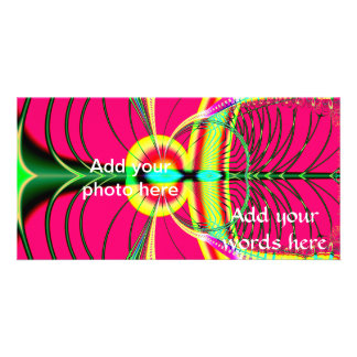 Fluorescent Butterfly Fractal Personalized Photo Card
