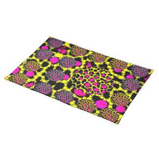 Fluorescent Cheetah Grunge Bling placemats