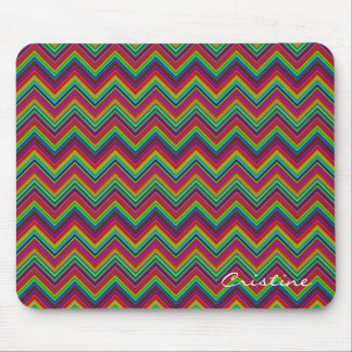 fluorescent colored zigzags personalized by name mouse pad