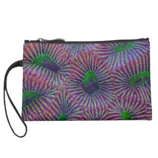 Fluorescent coral pattern suede wristlet wallet