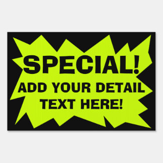 Fluorescent Custom Advertisement Sign, Chartreuse Lawn Sign