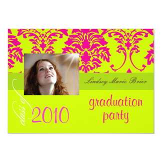 Fluorescent Damask/hot pink/lime Card