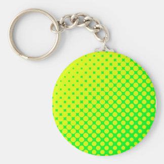 Fluorescent Eighties Retro Green & Yellow Keychain
